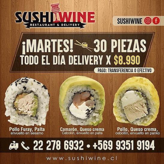 promo sushi wine